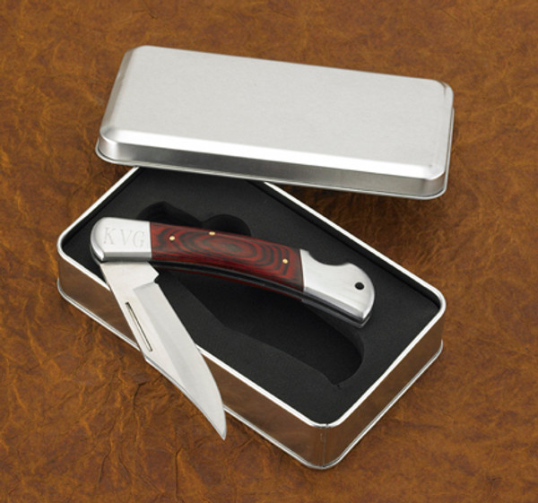 Personalized wooden handled knife