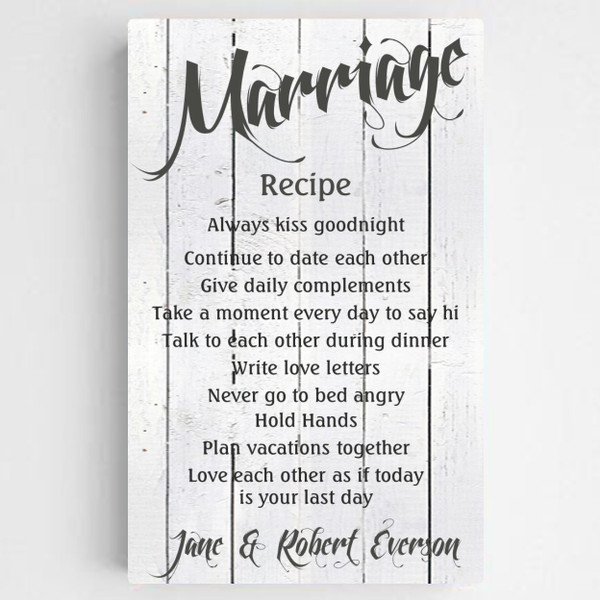 Personalized Marriage Recipe Canvas with Wooden design background