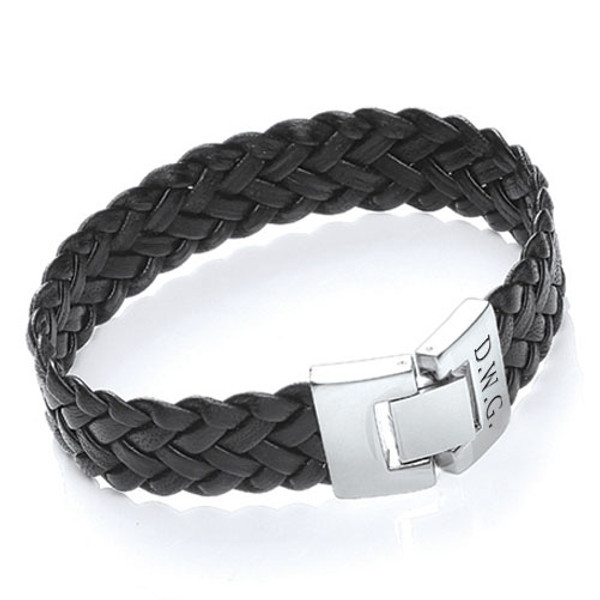 Men's Engraved Black Leather Bracelet