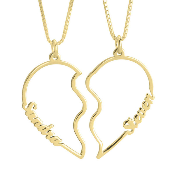 Couple's two necklaces in one heart in gold