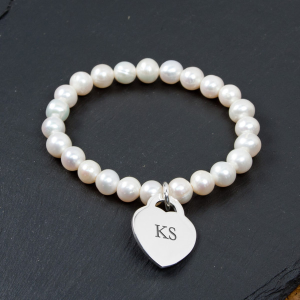 Personalized Forever Pearl and Heart Bracelet