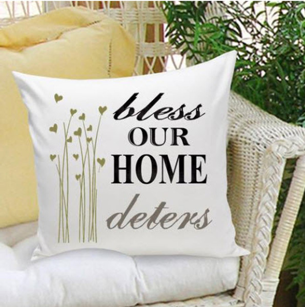 Bless our home, personalized pillow