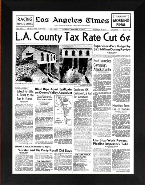 Front page of Los Angeles Times from 1976 framed