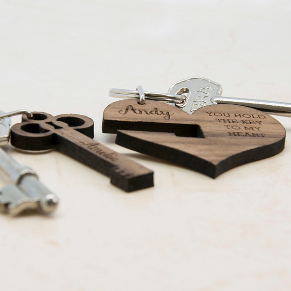 personalized couples keyring - side view