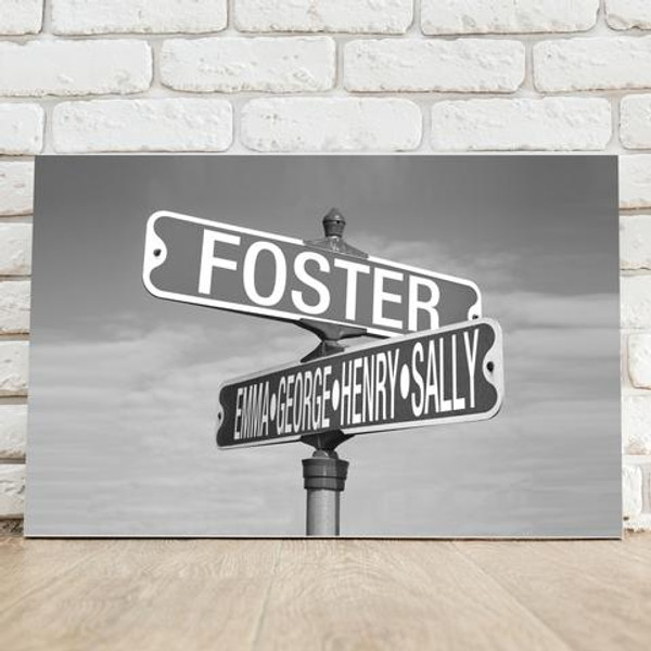Personalized road sign photo canvas