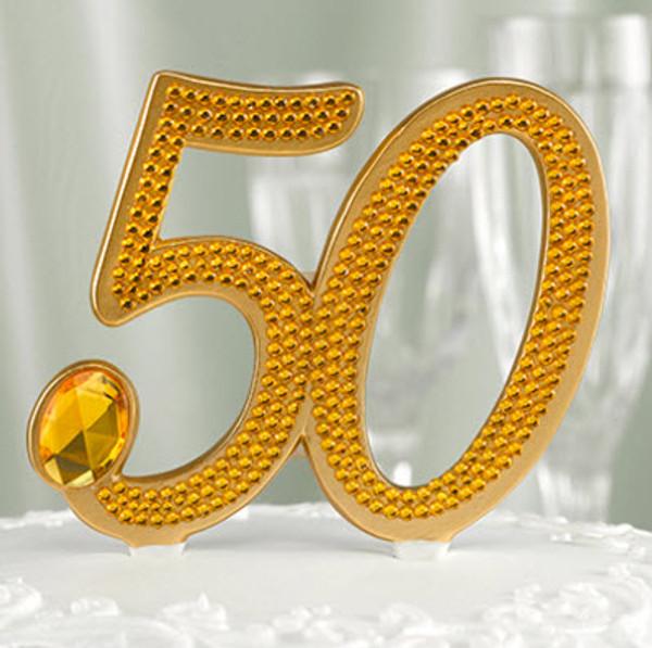 50th anniversary gold cake topper