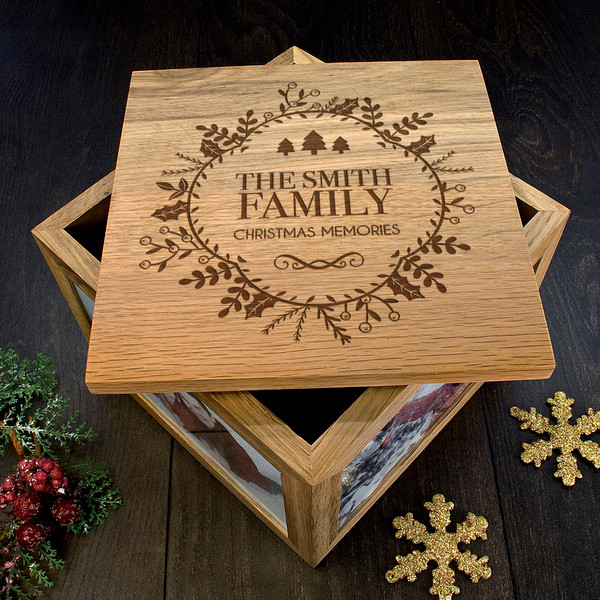 personalized family Christmas photo box top