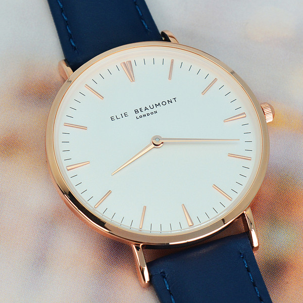 Personalized leather watch in Navy