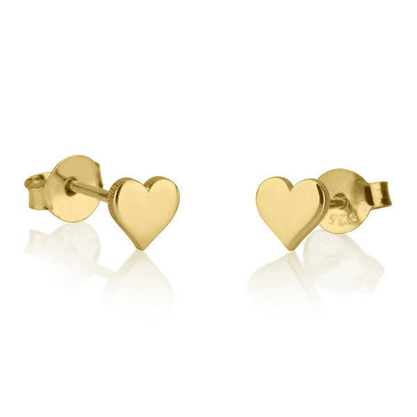 Engraved gold heart stud earrings