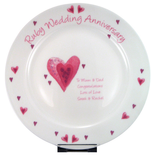 Personalized Ruby Anniversary Plate for 40 years