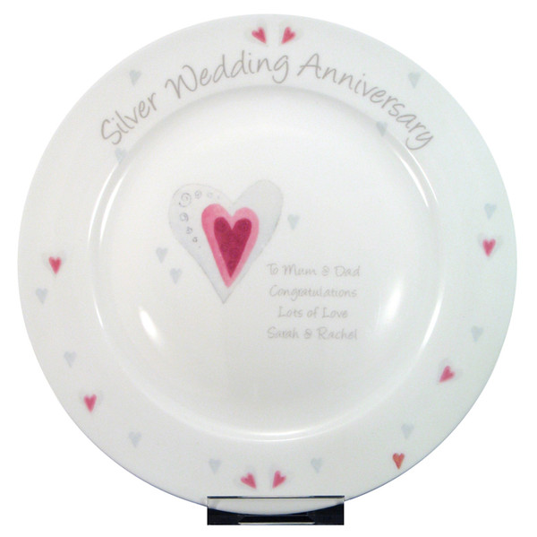 Personalized Silver Anniversary Plate for 25 years