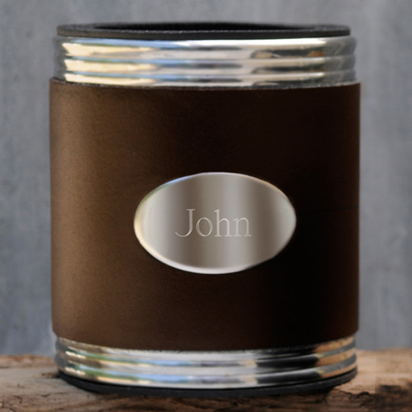 Personalized Leather Anniversary Can Holder in Dark Brown