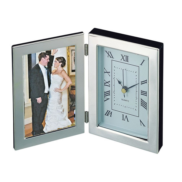 Silver Anniversary Clock with Photo Frame