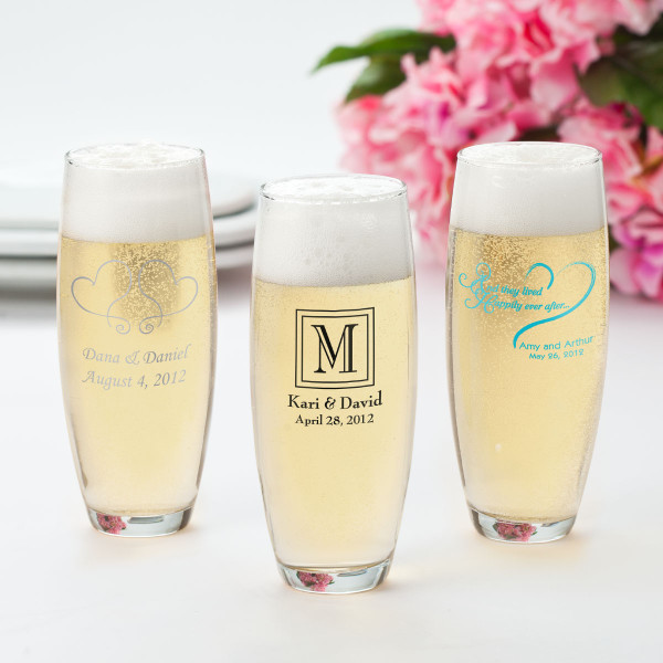 Personalized Wedding Anniversary Stemless Champagne Flutes