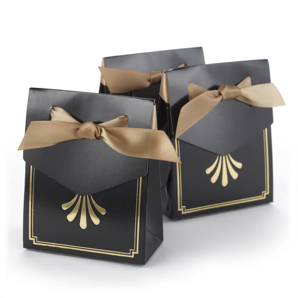 Golden Anniversary favor boxes in black and gold