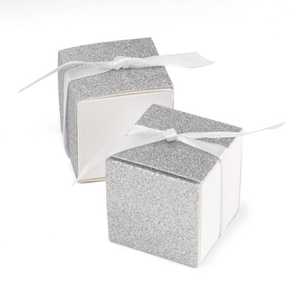 Silver Glitter Anniversary Favor Boxes - set of 50