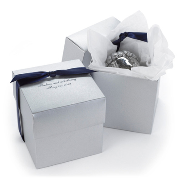 Personalized Silver Cupcake Boxes