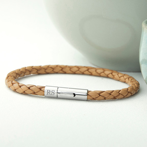 Men's Engraved Leather Bracelet