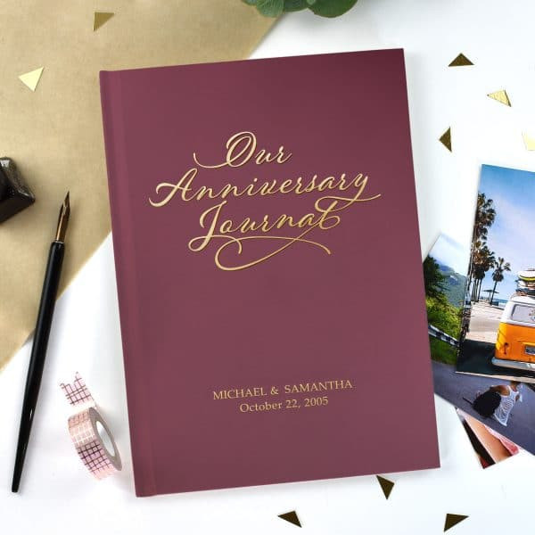 Our Anniversary Journal with Burgundy Cover and Gold Embossing