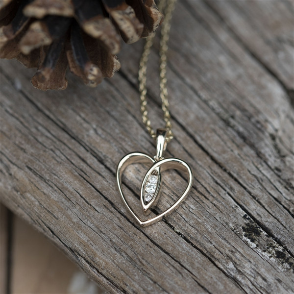 Gold Heart Necklace with Three Anniversary Diamonds