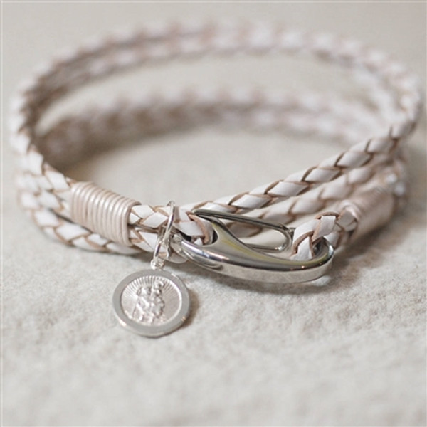 Personalized White Leather St Christopher Bracelet