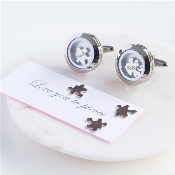 Love You To Pieces Personalized Stainless Steel Cufflinks