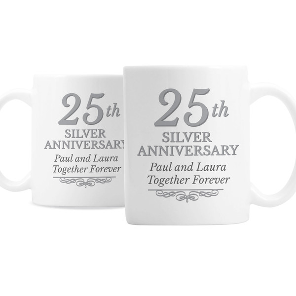 Personalized 25th Anniversary Mugs