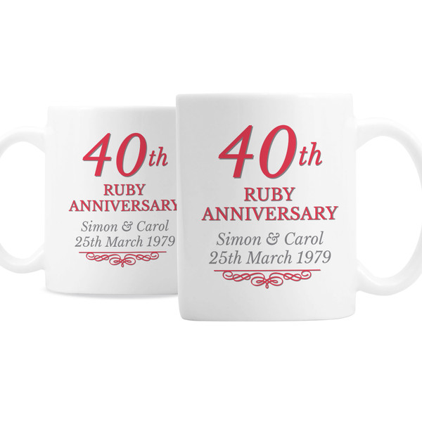 Personalized 40th Anniversary Mugs