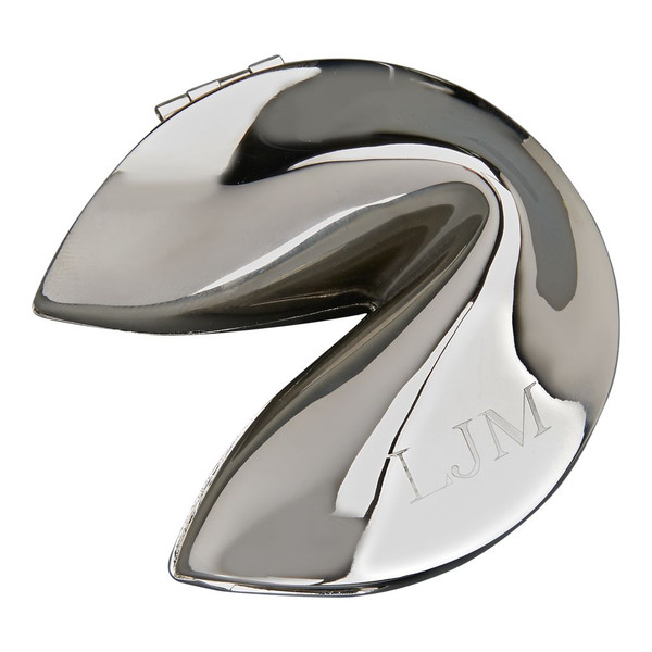 Silver Fortune Cookie personalized with your initials