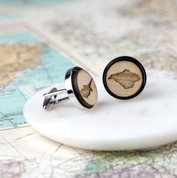 Personalized Wooden Map Cufflinks