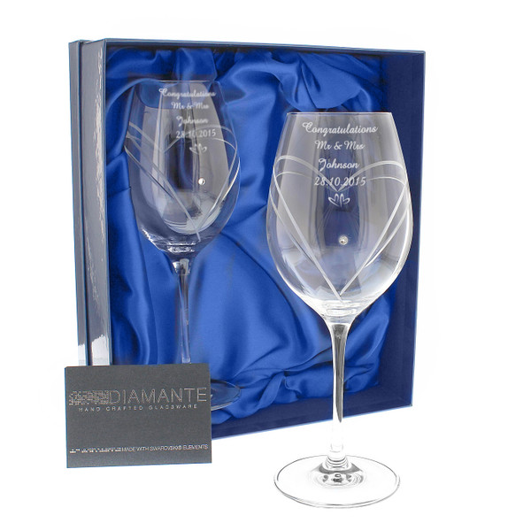 Personalized Celebration Wine Glasses, engraved with names and your Wedding Date
