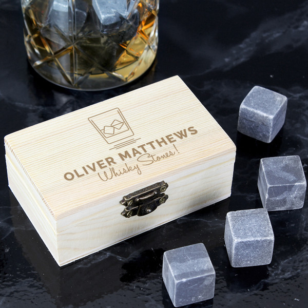 Set of eight Whisky Rocks in a Personalized Wooden Box