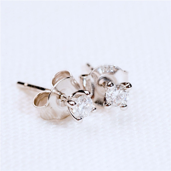 Diamond Solitaire Earrings in White Gold