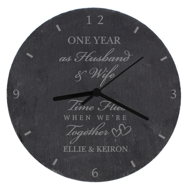 Personalized Couples Slate Anniversary Clock