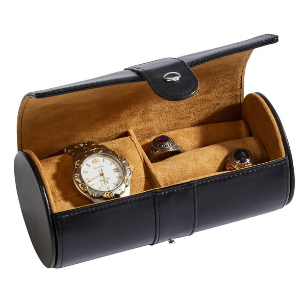 Black Leather Jewelry Roll with compartments