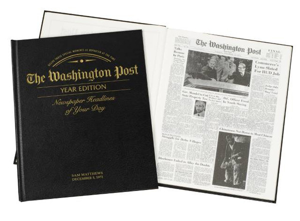 Newspaper from your wedding day bound in leather and personalized