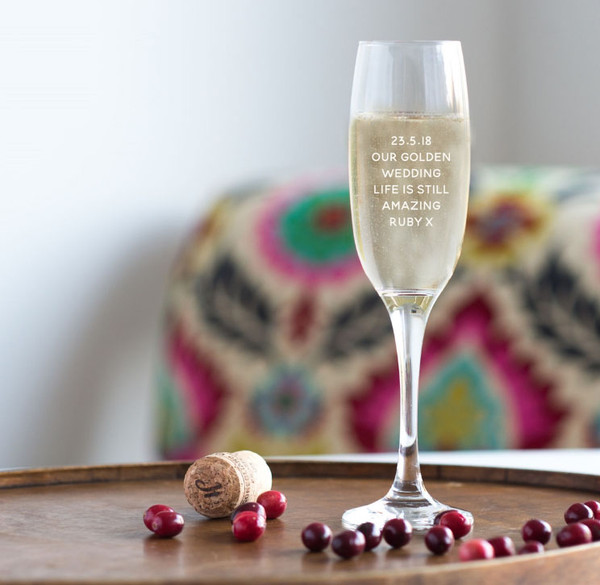 Golden Wedding Anniversary personalized celebration glasses, engraved with your own message