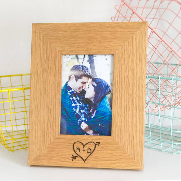 Personalized wooden photo frame, carved with a heart and both of your initials