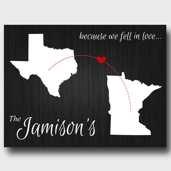 Because we fell in love, black personalized two states canvas