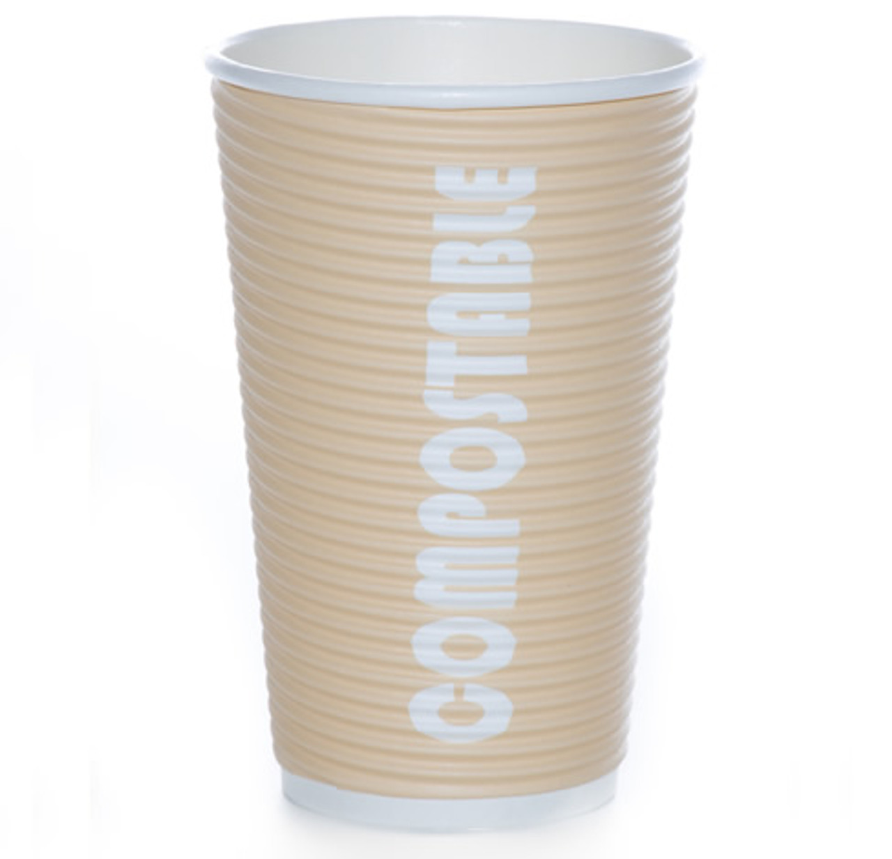 16oz Renewables™ Ripple Grip® Ripple Wall Compostable Cup (Tan)