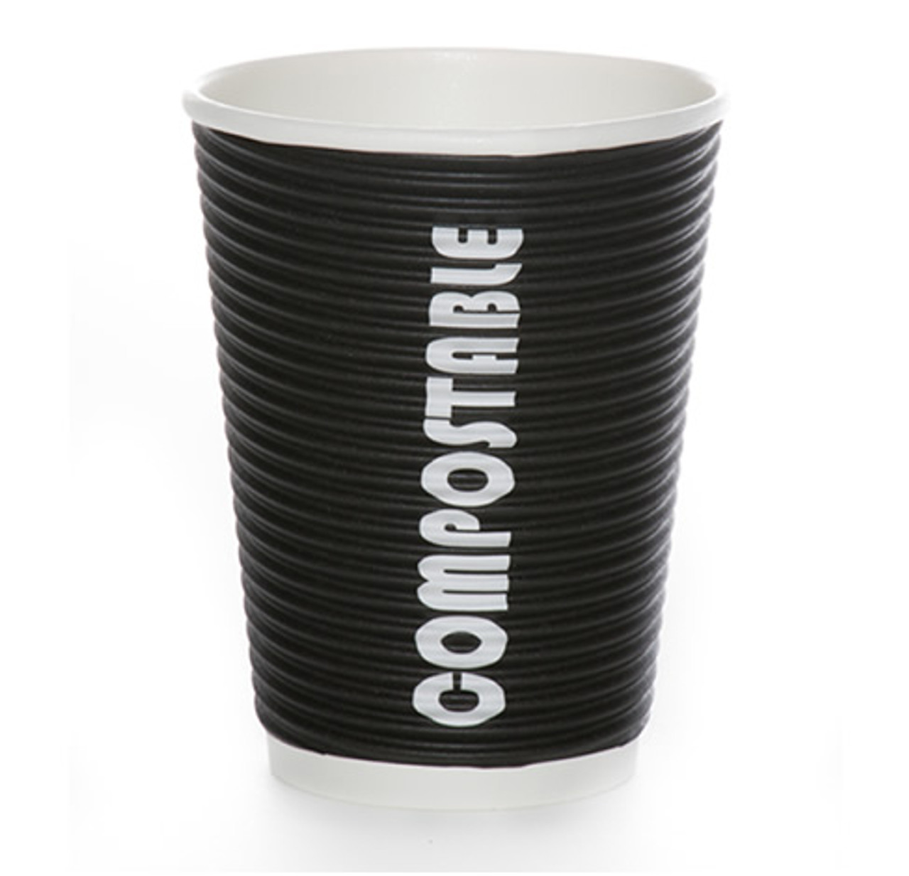 8oz Renewables™ Ripple Grip® Ripple Wall Compostable Cup (Black)