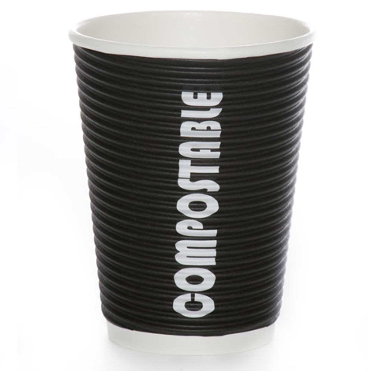 12oz Renewables™ Ripple Grip® Ripple Wall Compostable Cup (Black)