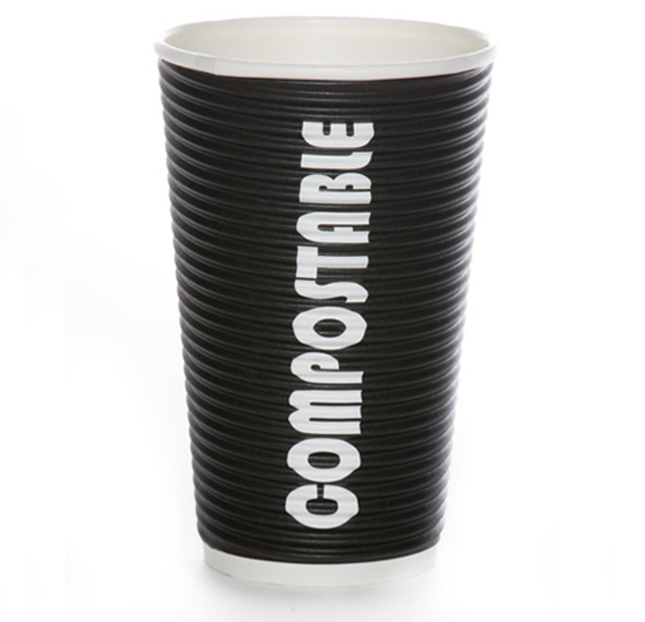 16oz Renewables™ Ripple Grip® Ripple Wall Compostable Cup (Black)