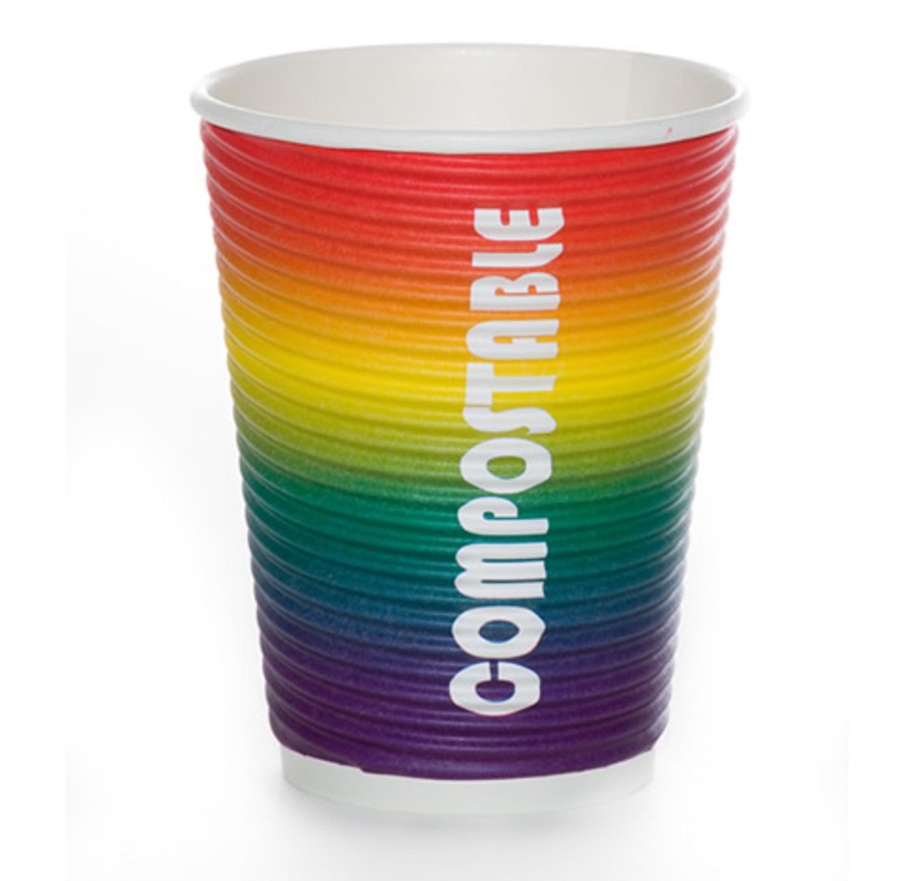 12oz Renewables™ Ripple Grip® Ripple Wall Compostable Cup (Rainbow Party Cup)