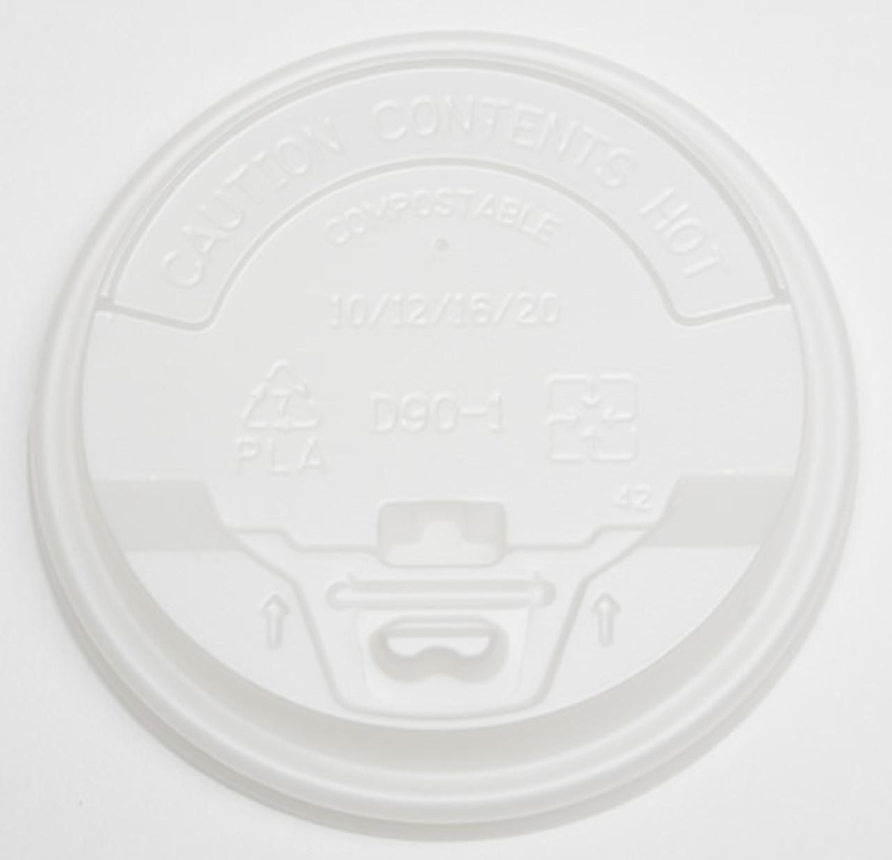 90mm cPLA Flip Top Lid, Fits 10oz/12oz/16oz/20oz Coffee Cups