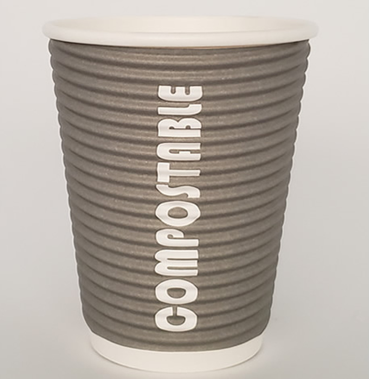 8oz Renewables™ Ripple Grip® Ripple Wall Compostable Cup (Grey)