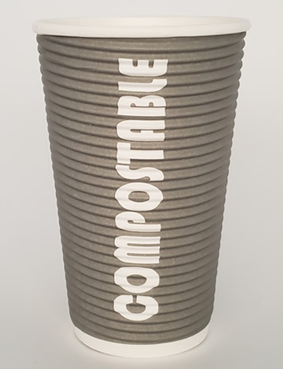 16oz Renewables™ Ripple Grip® Ripple Wall Compostable Cup (Grey)