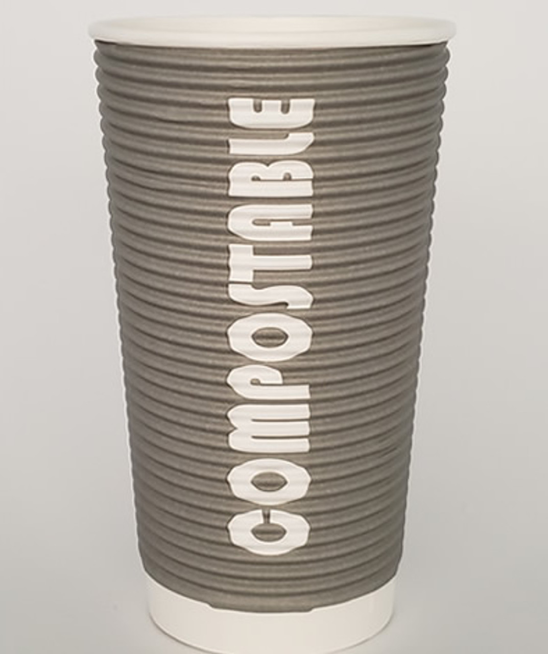 20oz Renewables™ Ripple Grip® Ripple Wall Compostable Cup (Grey)