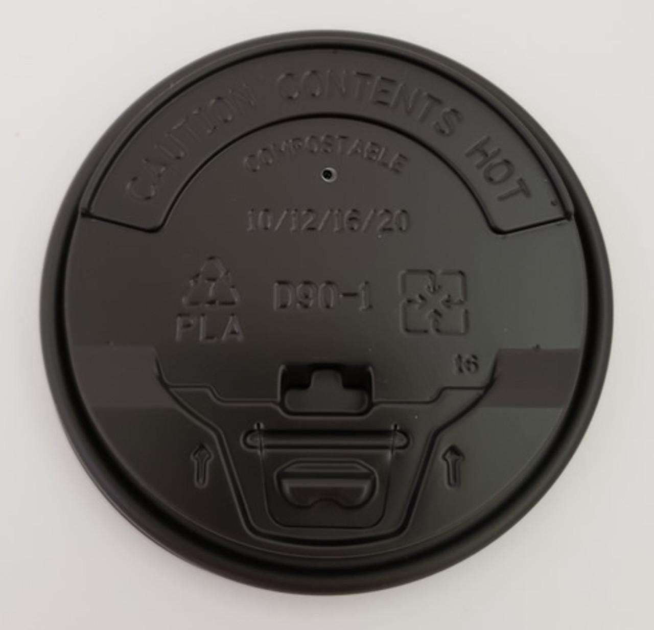 90mm cPLA Flip Top Lid, Fit 10oz/12oz/16oz/20oz Coffee Cups (Black)