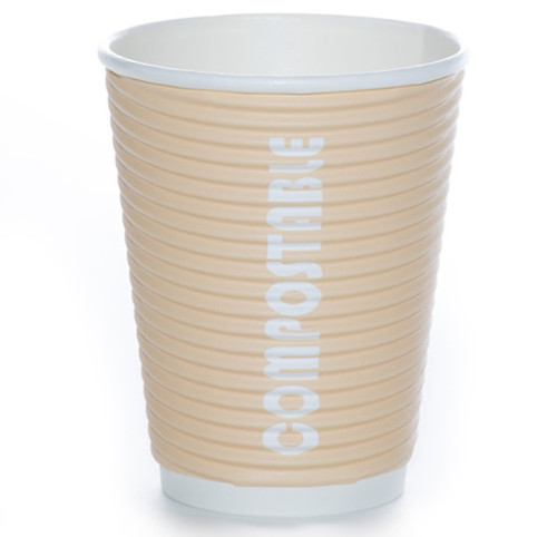 8oz Renewables™ Ripple Grip® Ripple Wall Compostable Cup (Tan)